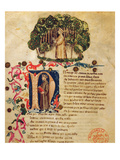 Ms It.474 Opening Scene of Dante's 'Divine Comedy' with the Figure of Dante in the Dark Wood Giclee Print by  Italian