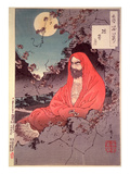 Meditation by Moonlight, (Colour Woodblock Print) Giclee-trykk av Tsukioka Kinzaburo Yoshitoshi
