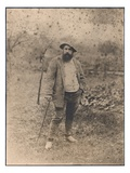 Claude Monet (1840-1926) in His Garden, 1880 (Silver Print) (B/W Photo) Giclee Print by Theodore Robinson