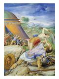 David and Goliath, C.1557-61 (Vellum) Stampa giclée di Giorgio Giulio Clovio
