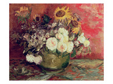 Sunflowers, Roses and Other Flowers in a Bowl, 1886 Giclee Print by Vincent van Gogh