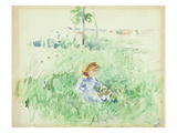 Young Girl Seated on the Lawn, 1882 (W/C on Paper) Giclee Print by Berthe Morisot