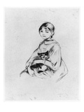 Young Girl with Cat, 1889 (Drypoint) Giclee Print by Berthe Morisot