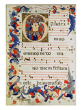 Page of Musical Notation with a Historiated Initial 'G' Depicting a Group of Saints with St. Ursula Giclee Print by  Italian