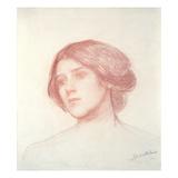 Head of a Girl (Red Chalk on Paper) Giclée-Druck von John William Waterhouse