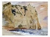 Cliffs of Etretat. the Pied Du Cheval, 1838 (W/C and Gouache on Paper) Reproduction procédé giclée par Eugene Delacroix