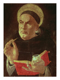 St.Thomas Aquinas (Oil on Panel) Reproduction procédé giclée par Sandro Botticelli
