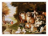 The Peaceable Kingdom, 1832-34 (See also 84503) Giclée-tryk af Edward Hicks