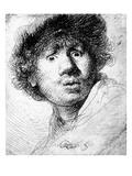 Self Portrait, 1630 (Etching) Giclée-tryk af  Rembrandt van Rijn
