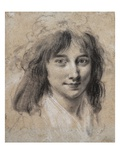 Portrait of a Young Lady (Black and White Chalk on Paper) Giclee Print by Louis Leopold Boilly