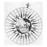 Compass with a Scene of Surveying (Engraving) Giclee Print by  English