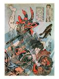 Tameijiro Dan Shogo Grappling with an Adversary under Water Impressão giclée por Kuniyoshi Utagawa