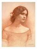 Study for 'The Lady Clare', C.1900 (Red Chalk on Paper) (See 55018) Giclée-tryk af John William Waterhouse