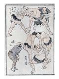 Studies of Gestures and Postures of Wrestlers, from a Manga (Colour Woodblock Print) Impressão giclée por Katsushika Hokusai