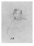 Portrait of a Young Girl, 1887 (Black Lead on Paper) Giclee Print by Berthe Morisot