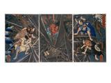 The Earth Spider Slain by the Hero Raiko's Retainers (944-1021) Giclée-Druck von Kuniyoshi Utagawa