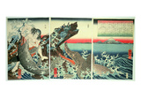 Asahina Saburo and the Crocodiles, Pub. 1849 (Colour Woodblock Print) Impressão giclée por Kuniyoshi Utagawa