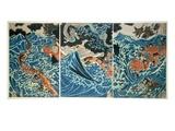 Tametomo's Shipwreck, Pub. C.1836, (Colour Woodblock Print) Impressão giclée por Kuniyoshi Utagawa