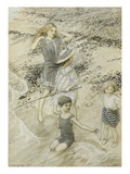 Four Children at the Seashore, 1910 (W/C on Paper) Gicléetryck av Arthur Rackham