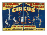 Poster Advertising the Great Wallendas at the 'Ringling Bros. and Barnum and Bailey Circus' Giclee Print by  American