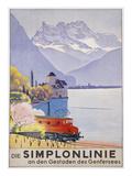Die Simplonlinie an Den Gestaden Des Genfersees', Poster Advertising Rail Travel around Lake Geneva Gicléetryck av Emil Cardinaux