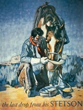 The Last Drop from His Stetson (Colour Litho) Giclée-Druck von  American