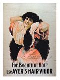 For Beautiful Hair Use Ayer's Hair Vigor' (Colour Litho) Giclee Print by  American