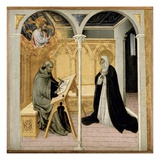 St. Catherine of Siena Dictating Her Dialogues, C.1447-61 (Tempera on Panel) Giclée-tryk af  Giovanni di Paolo di Grazia