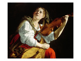 Young Woman with a Violin, c.1612 Giclée-tryk af Orazio Gentileschi