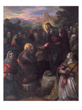Christ Delivering the Keys to St. Peter with St. Jacinta and St. Justina of Padua Giclée-tryk af Domenico Tintoretto