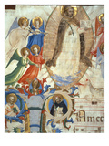 Ms 558 F.67V St. Dominic Surrounded by Musician Angels, Detail from a Missal, Early 1430S Giclée-tryk af  Fra Angelico