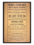 Train Poster for the Southern and Western Route, 1854 (Litho) Giclee Print by  American