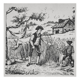 A Family Harvesting Corn (Litho) Giclee Print by  American