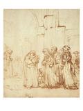 Simeon and Jesus in the Temple (Drawing) Giclée-Druck von  Rembrandt van Rijn