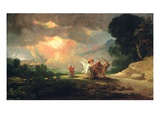 Lot Fleeing from Sodom, 1810 (Oil on Panel) Giclée-vedos tekijänä Benjamin West