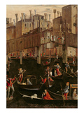 Wooden Rialto Bridge, from the Miracle of the Relic of the True Cross, 1494 (Detail of 29232) Giclée-tryk af Vittore Carpaccio