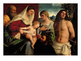 Sacra Conversatione with Ss. Catherine, Sebastian and Holy Family (Oil on Panel) Giclée-tryk af Sebastiano del Piombo