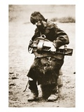 Russian Peasant Playing Hurdy Gurdy, C.1880S (Sepia Photo) Giclee Print by  Russian Photographer