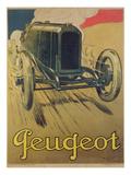 Werbeposter für einen Rennwagen von Peugeot, ca. 1918, Farblithografie Giclée-Druck von René Vincent