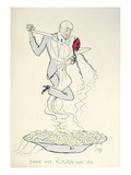 Gabriele D'Annunzio (1863-1938) Dancing with a Woman Above a Plate of Maccheroni (Colour Litho) Giclée-tryk af  Sem