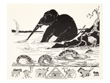 The Elephant's Child Having His Nose Pulled by the Crocodile Giclee Print by Rudyard Kipling