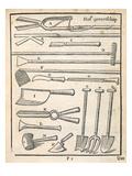 Garden Tools, from 'The Dutch Gardener' by Johann Van Der Groen, Published 1699 (Engraving) Giclée-Druck von  Dutch