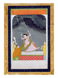 A Lady on a Swing, Kangra, Punjab Hills C.1790 (Opaque W/C on Paper) Giclée-tryk af  Mughal