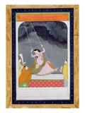 A Lady on a Swing, Kangra, Punjab Hills C.1790 (Opaque W/C on Paper) Giclée-tryk af  Mughal