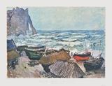 Fishing Boats at Etrétat Impressão colecionável por Claude Monet