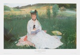 Lady in the Meadows Print by Berthe Morisot
