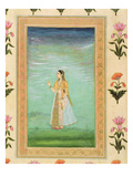 Lady Holding a Flower, from the Small Clive Album (Opaque W/C on Paper) Giclee Print by  Mughal