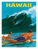 Big Wave Surfimg Giclée-tryk af Chas Allen
