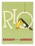 Braniff Air Rio c.1960s Reproduction procédé giclée