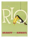 Braniff Airways, Rio, ca. 1960'erne, på engelsk Giclée-tryk